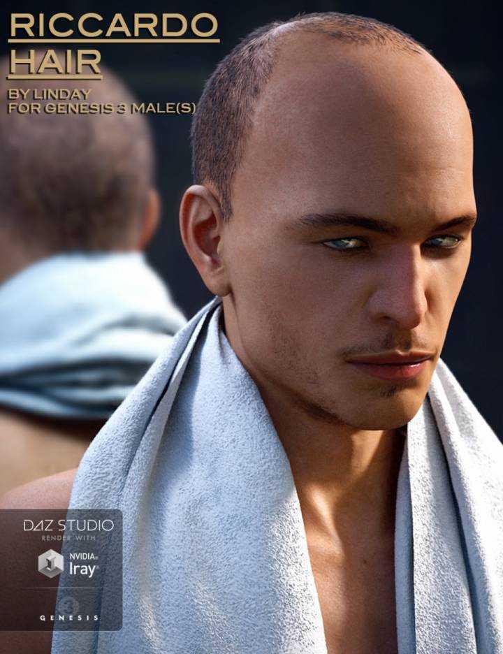 Riccardo Hair for Genesis 3 Male(s)