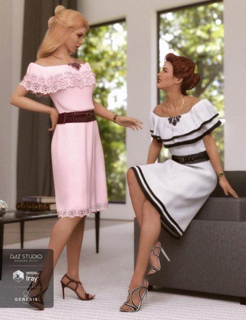 dForce Off The Shoulder Dress Textures