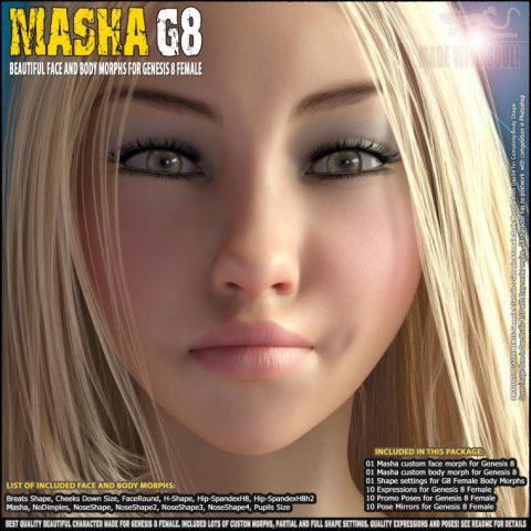 Masha – Beautiful Face and Body morphs for Genesis 8